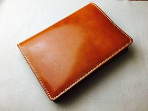 【手縫】栃木レザーキャメル色本革単行本用ブックカバー