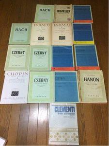 音楽本 ピアノ 楽譜 まとめて16冊。中古。バッハ平均率、ツェルニー、ショパン他。まとめ
