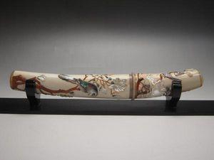 【集】072206超美品 本象牙ナイフ 螺細珊瑚芝山象嵌 花鳥文細工 二重箱