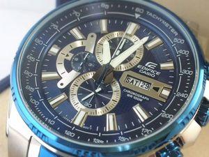 CASIO カシオ EDIFICE エディフィス メンズ 腕時計 クロノグラフ ブルー IP タキメーター