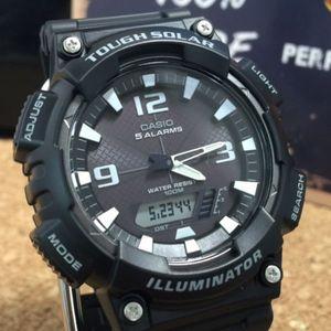 新品逆輸入カシオ CASIO ソーラーアナデジ腕時計 ブラック 白