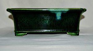 『特注品』寺畑真山の氷裂織部釉の隅入外縁長方形の約31,5㌢の鉢 rinogo68686